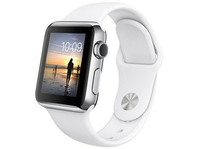 Apple Watch 38mm Stainless Steel Case with White Sport Band MJ302